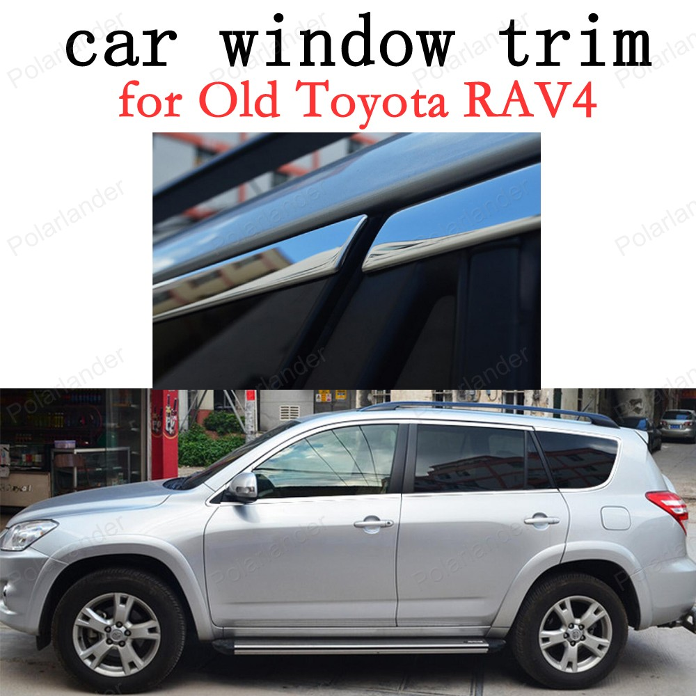 Car Exterior Accessories Window Trim for Old Toyota RAV4 Stainless Steel Decoration Strips without column stainless steel full window with center pillar decoration trim car accessories for hyundai ix35 2013 2014 2015 24