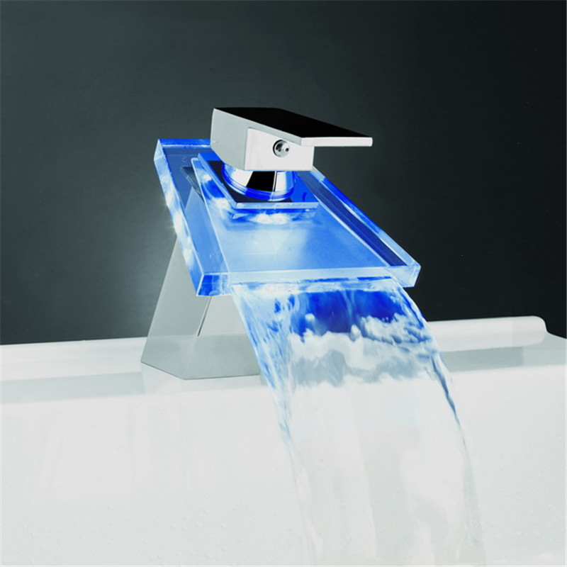 Polished Chrome 3 Color LED Changing Glass Spout Bathroom Basin Mixer Faucet Deck Mounted / 8 Hole Cover