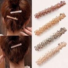 Female Fashion Glitter Hair Clips Crystal Sparkly Wedding Accessories Transparent Geometric Elegant For Girl Women Barrette