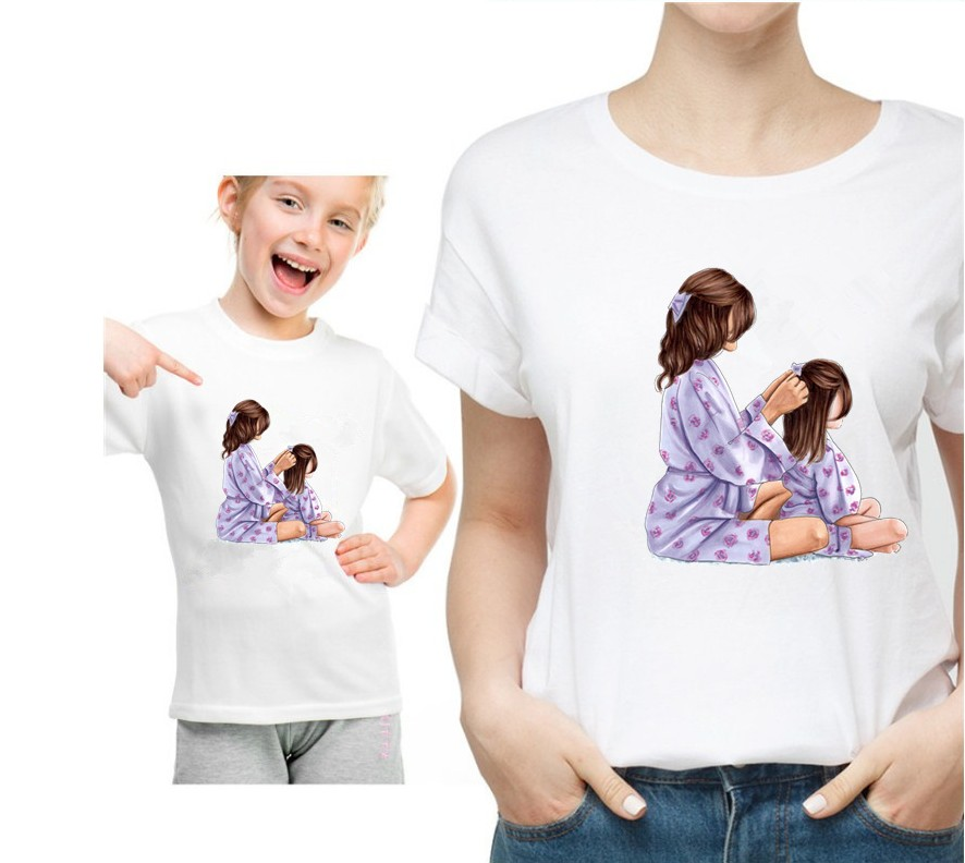 Mom And Daughter Family Matching White Tshirt Parent-child O-neck Short Sleeve KT-1939