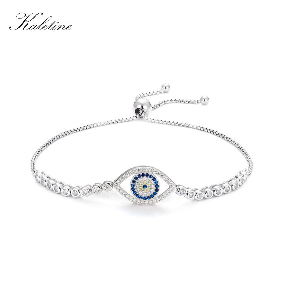 US $13 51 32% OFF|Kaletine Fashion Tennis Bracelet Lucky Evil Eye Clear CZ  Charms 925 Sterling Silver Bracelets For Women Bead Jewelry Rope Chain-in