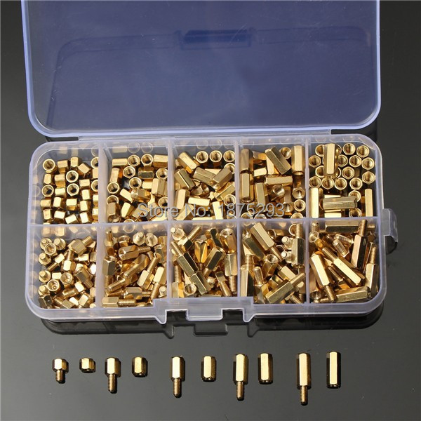 200Pcs M3 4-12mm Brass Hex Column Standoff Support Spacer Screw Nut Assortment 300pcs set m3bh1 m3 4 12mm male female brass hex column standoff support spacer pillar screw nut assortment for pcb board