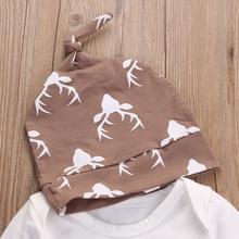 3PCS Newborn Infant Long Sleeve Cotton Romper Deer Pant Hat Outfits