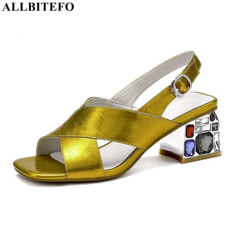 ALLBITEFO large size 34 42 full genuine leather Color diamond high heels party women sandals women