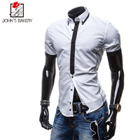 Men New Top Fashion Shirt Short Sleeve 2018 Brand Shirts Casual Male Slim Fit Splice Closure