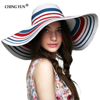 New fashion women's sun hats Protection Weave foldable large brim hat summer female sun chapeau beach vacation Bohemia sun cap