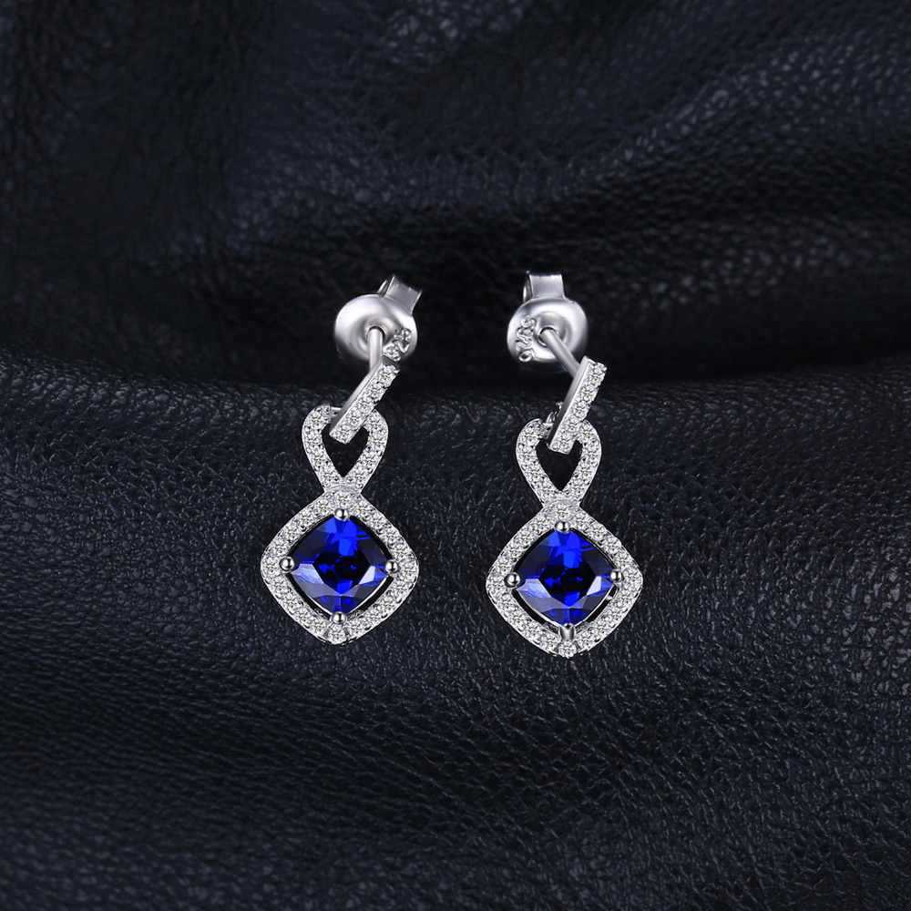 JewelryPalace Cushion 1.9ct Created Sapphire Drop Earrings 925 Sterling Silver U5Qm77r
