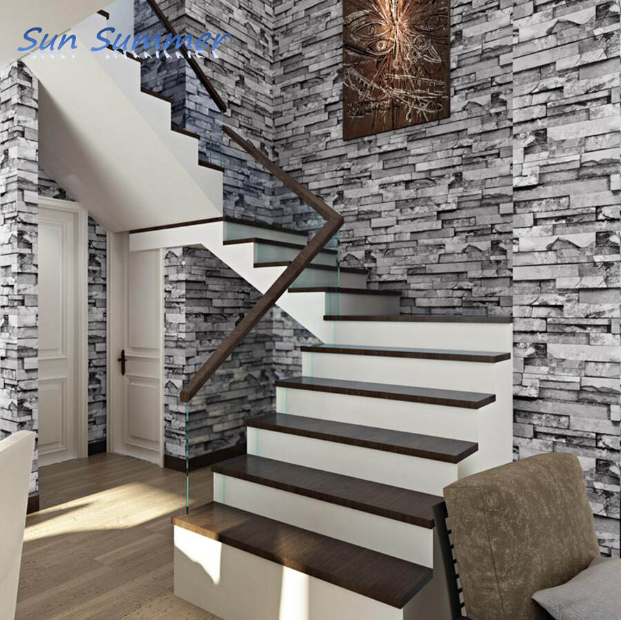 New New chinese style bricks wallpaper clothes stair wallpaper bedroom  WA91
