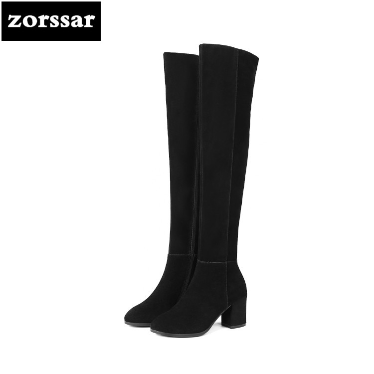 {Zorssar} 2019 New Fashion Female Snow boots Winter Plush Thigh High Boots Suede Leather Thick heel Women Over The Knee boots ryvba woman knee high snow boots fashion thick plush warm thigh high boots winter boots for women shoes womens female sexy flats