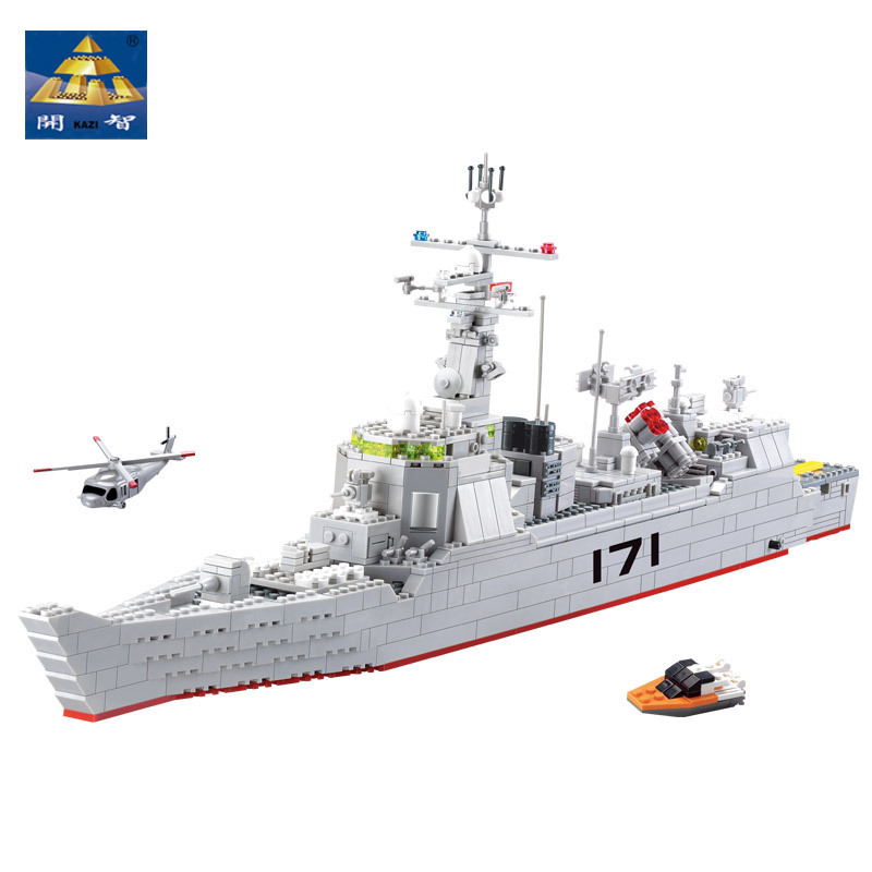 KAZI Military Anti Aircraft Missile Destroyer Building Blocks 84029 Kids Toys Light Sound Educational Bricks toys for children kazi 228pcs military ship model building blocks kids toys imitation gun weapon equipment technic designer toys for kid