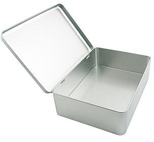 22.2*16*6.5cm Silver large rectangle candy storage box gift storage box jewelry tin box