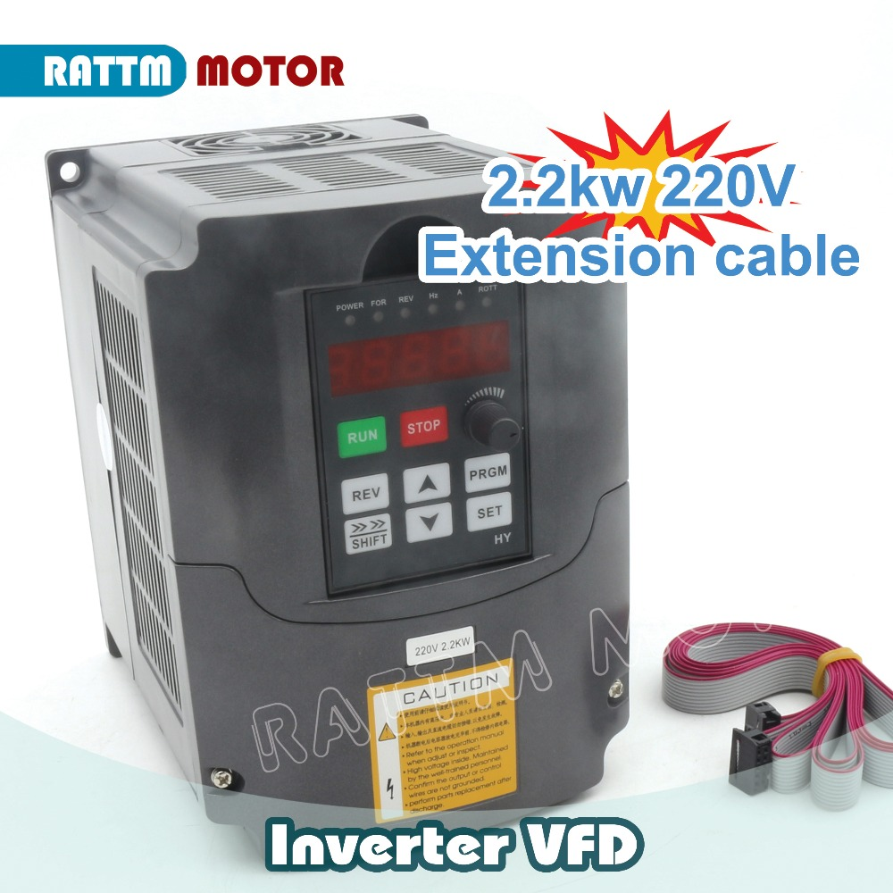 цена на Ukraine Ship!! 2.2KW 220V 3HP Variable Frequency VFD Inverter Output 3 phase 400Hz 10A &Extension cable/control panel box