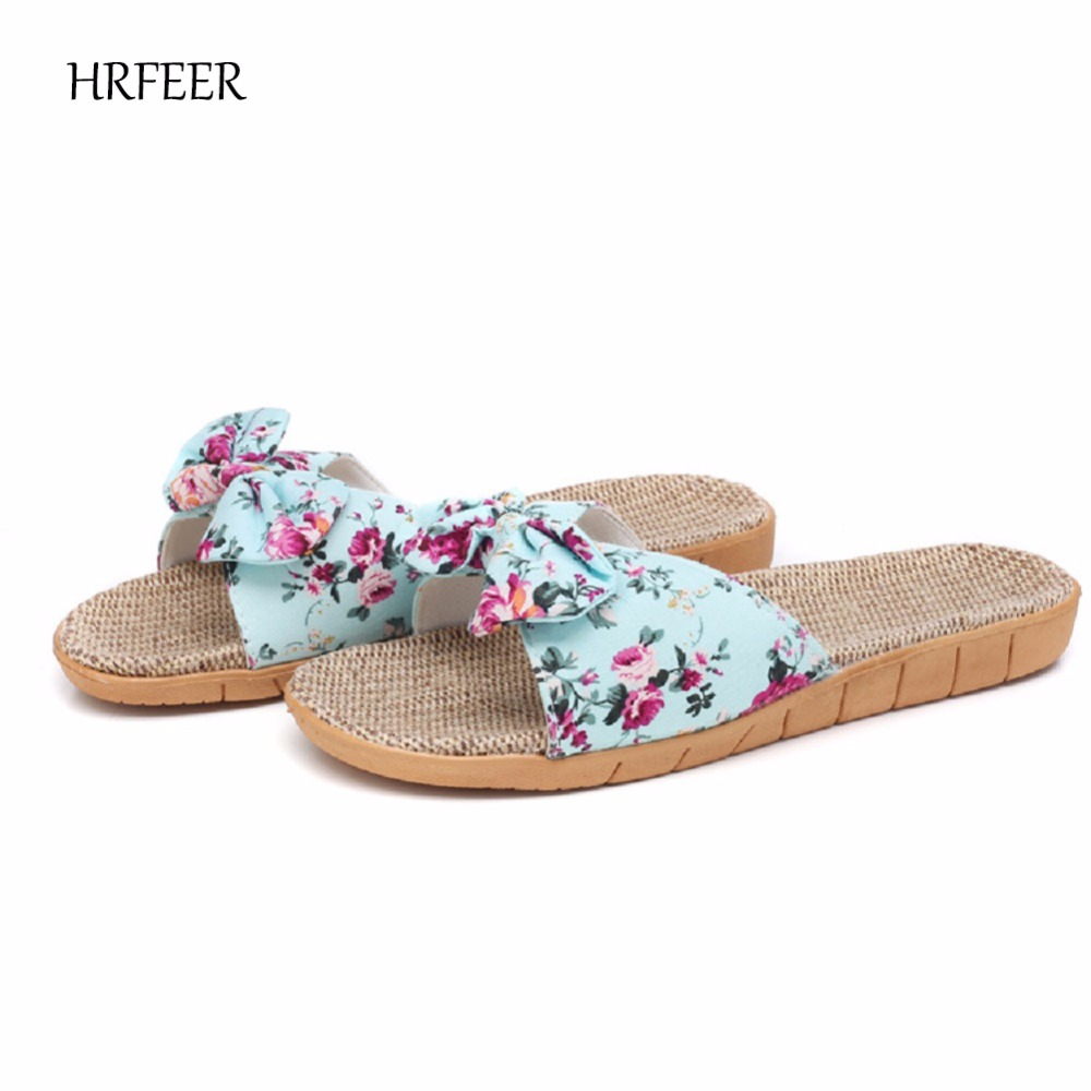 HRFEER Dames Slipper Cozy Indoor Cotton Flax Home Slippers - Damesschoenen - Foto 1
