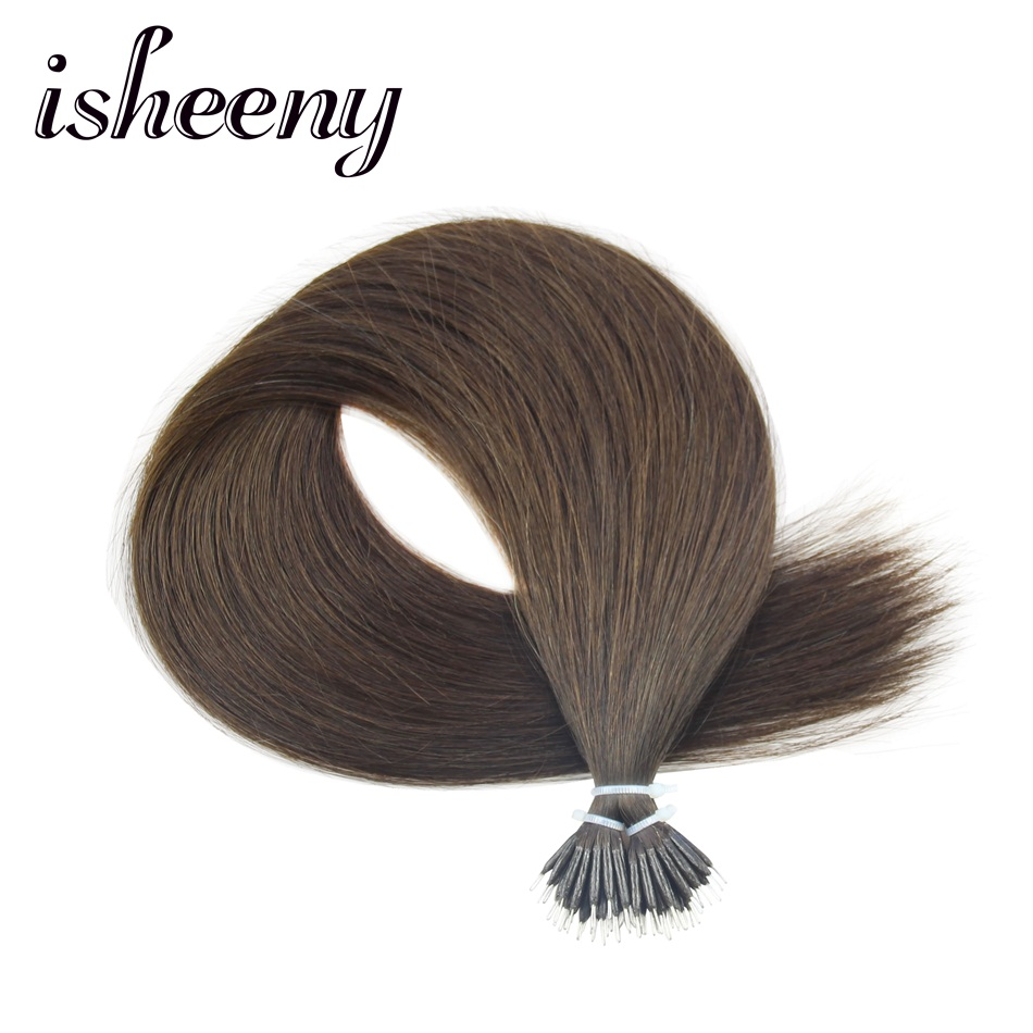 Isheeny 2# Nano Ring Remy Human Hair Extensions Straight 14 18 22 Micro Link Hair  Extension 50pcs Micro Beads Fast Shipping