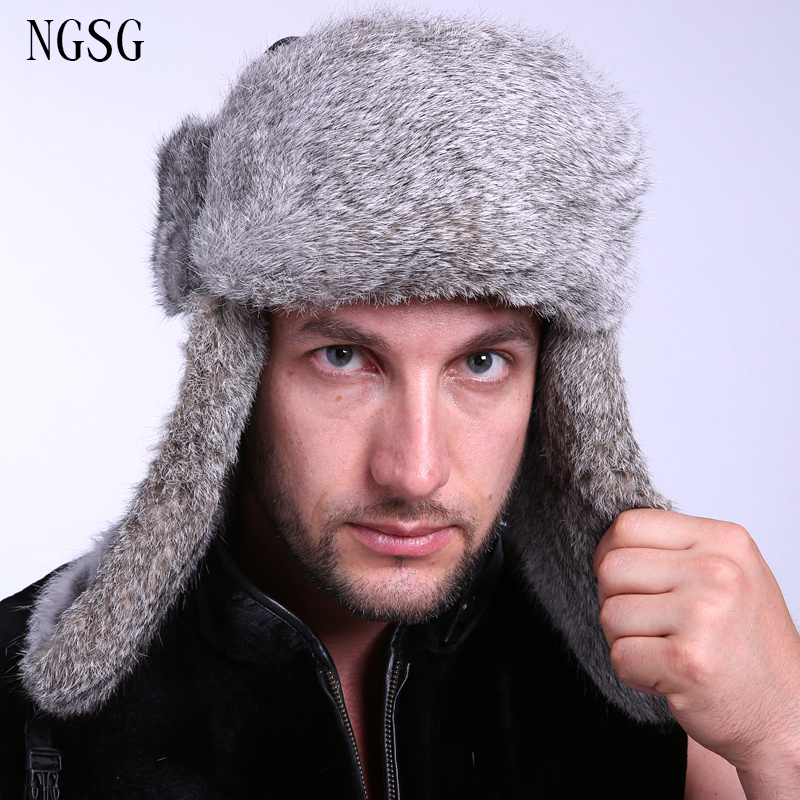 Men's Bomber Hats Apparel Accessories Men Fur Hat Rabbit Skin Winter Hat Gray European And American Style Daily Life Accessories As Gift Brother Ea4050-9 Choice Materials