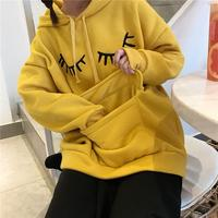 New Autumn And Winter Sweet Students Cartoon Embroidered Pockets Hooded Velvet Thick Cute Rabbit Ears Women