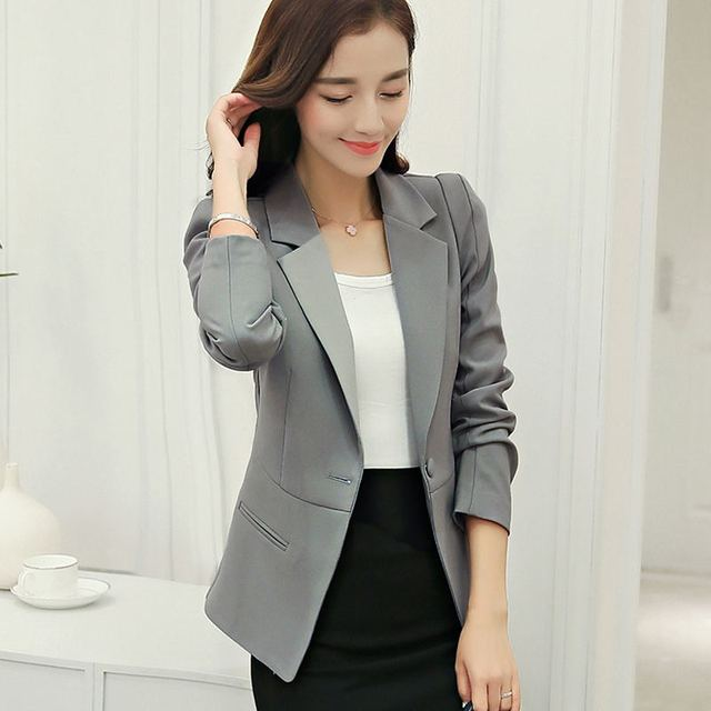 White Black Pink Women Blazers And Jackets Plus Size 2018 Spring Autumn Single Button Blaser Female Elegant Blazer Long Sleeve 5