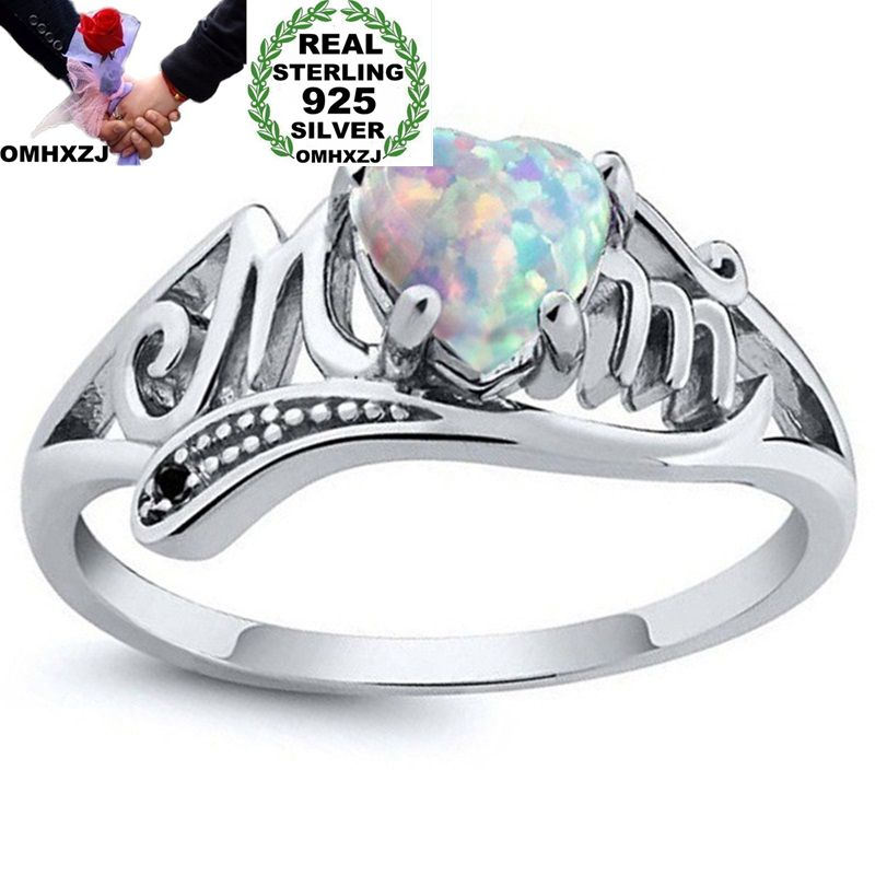 OMHXZJ Wholesale European Fashion Woman Man Party Wedding Gift Silver White Blue Green Heart Opal 925 Sterling Silver Ring RR158