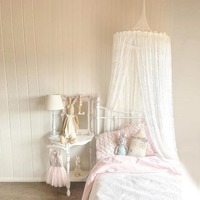 New Nordic White Lace Baby Girls Princess Dome Canopy Bed Curtains Round Kids Play Tent Room