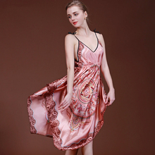 2017 New Women Satin Silk Nightgown Summer Classic Chinese Silk Sleepshirts Pijamas Female Soft Nightshirt Sexy Lingerie Nighty