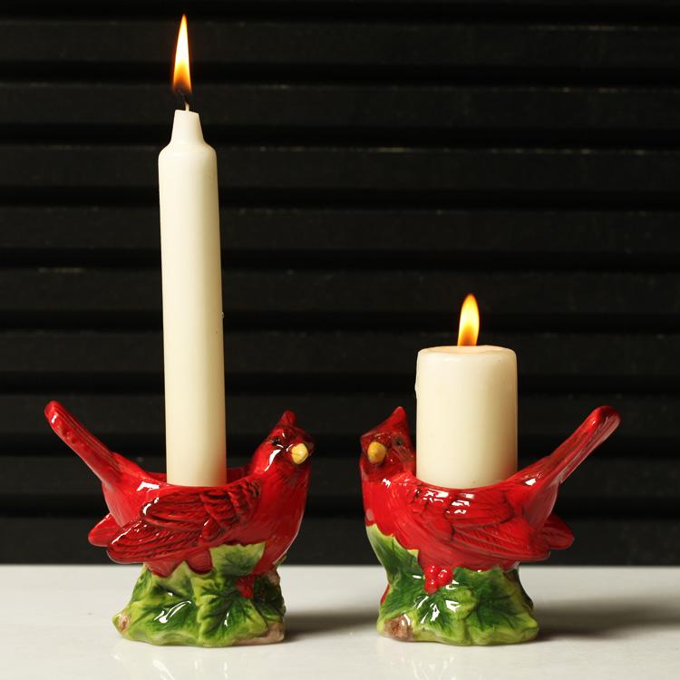 regalo creativo navidad pjaro rojo serie jardn titular de la vela color de la navidad pjaros