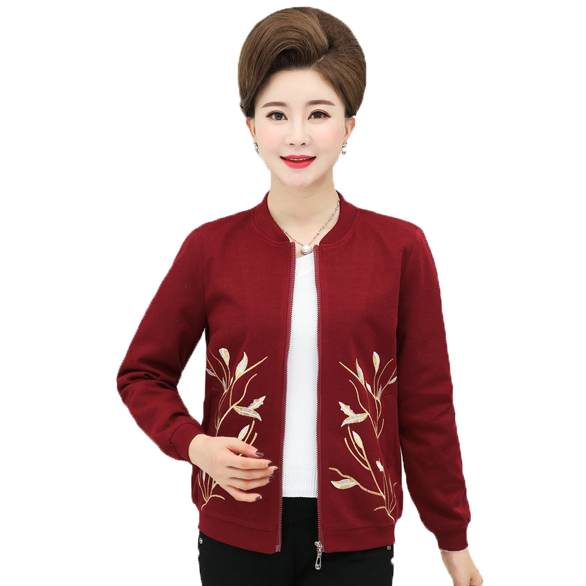 613422c6e US $33.0 25% OFF|Autumn Woman Flower Embroidery Coat Women Bomber Jacket  Wine Red Navy Blue Outerwear Lady Zipper Front Bomber Jacket Mother Wear-in  ...