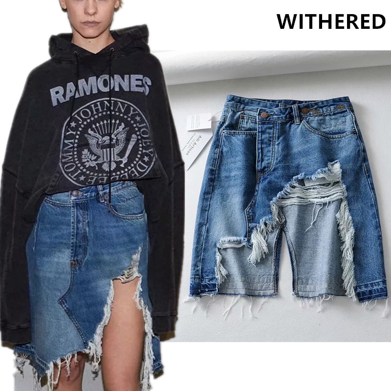 Withered High Street Asymmetric Burrs Sexy Fork Opening Washed Denim Skirt Women Faldas Mujer Moda 2020 Skirts Womens 2piece Set