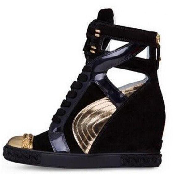 Hauteur augmentant chaussures de designer décontractées femmes cales couleurs mélangées haut talon caché femme chaussures plates Top qualité Photo réelle