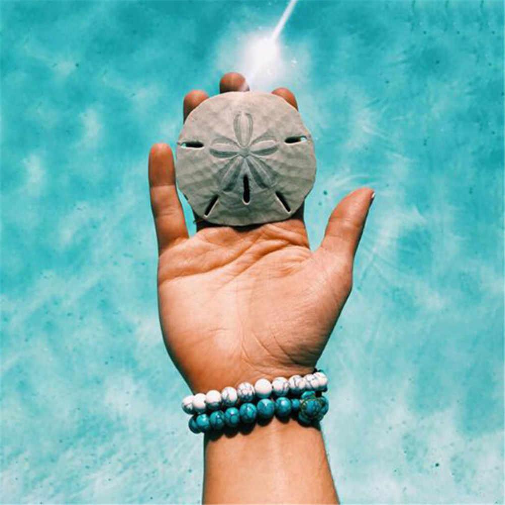 ฤดูร้อนแฟชั่นธรรมชาติ Volcanic Lava หินเต่า Charm สร้อยข้อมือ DIY 8 มม. สีขาว Howlite สร้อยข้อมือลูกปัดผู้ชายหรือผู้หญิงขายส่ง