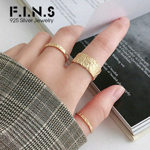 F.I.N.S Personalized Uneven Rings 925 Sterling Silver Female Ring Thin Wide Stackable Open Cuff Finger Rings for Decoration(China)