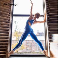 NRAHBSQT Sexy Backless Stitching One Piece Workout Jumpsuit Sleeveless Side Stripe Yoga Gym Jumpsuits Women Sports Wear YS147