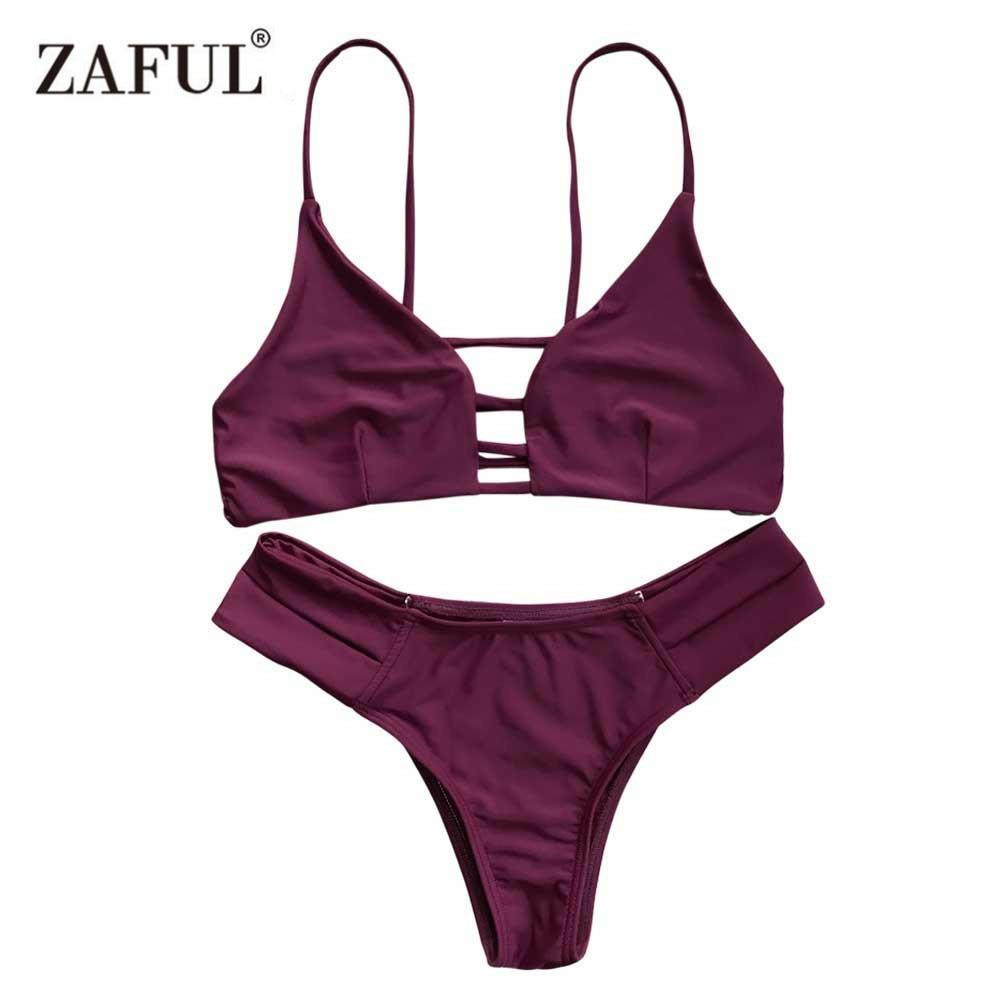 Zaful 2017 Žena Bikiny Sexy Bandáž Plavky Plavky Halter Brazilské Bikiny Beach koupací oděvy Biquini Maillot De Bain