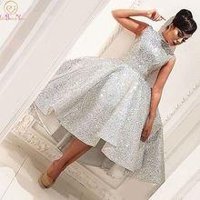 Модное короткое платье для выпускного вечера с высокой горловиной серебряное Бальное Платье До Колена без рукавов Вечернее Платье До Колена vestido de gala