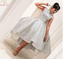 Fashion High Neck Short Prom Dresses 2019 Silver Sleeveless Knee Length Ball Gown Formal Party vestido de gala