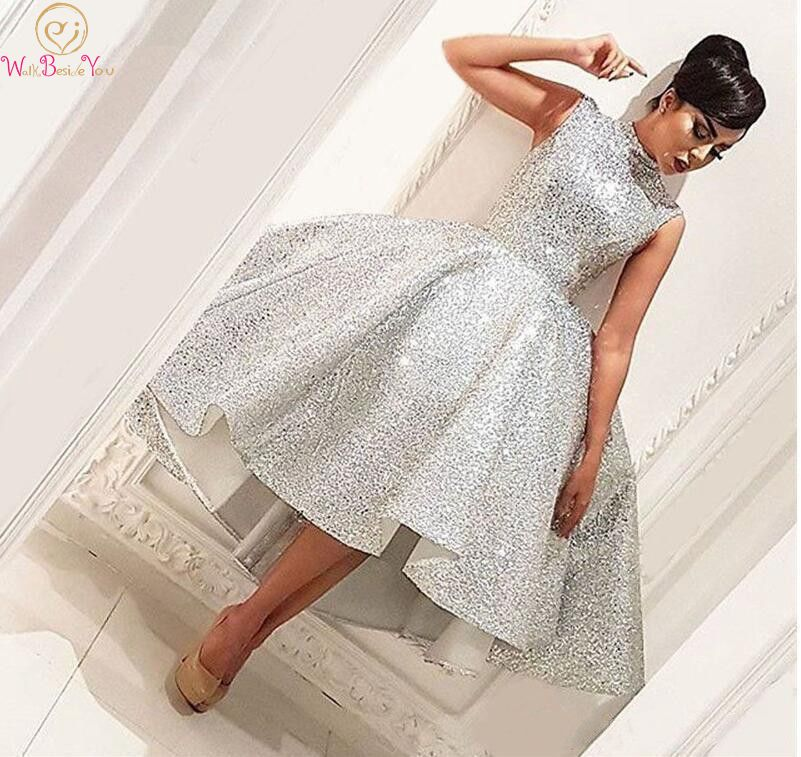 Silver High Neck Ball Gown Short Cocktail Dresses 2019 Sleeveless Formal Party Sequined Prom Gowns Vestido De Gala Robe Soiree