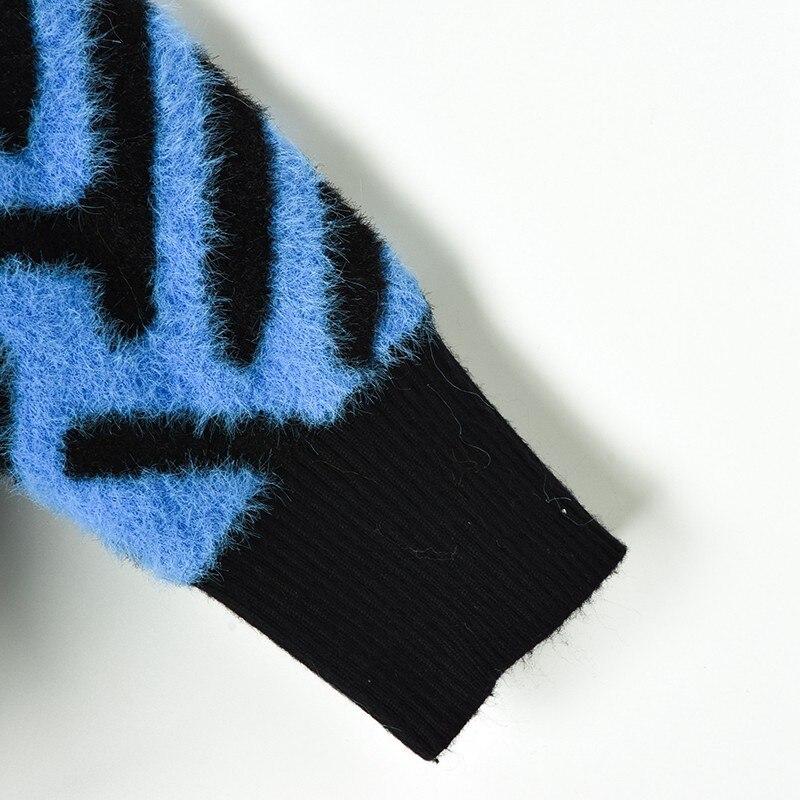 En Plaid Zip Veste Manteau Tricot coffee Piste Conception Pull Femmes Blue Femelle Rayé Cardigan 2018 Vintage Hauts Up Nouveau Épais Hiver v6vBq1SU