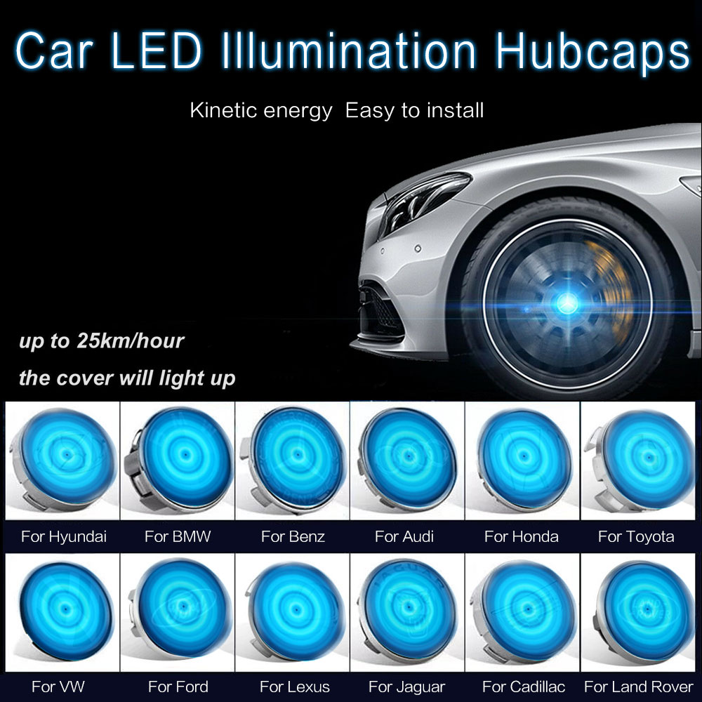4Pcs Car LED Wheel Center Floating Illumination Cover Lighting Hubcaps Fit For BMW Mini 56mm Blue