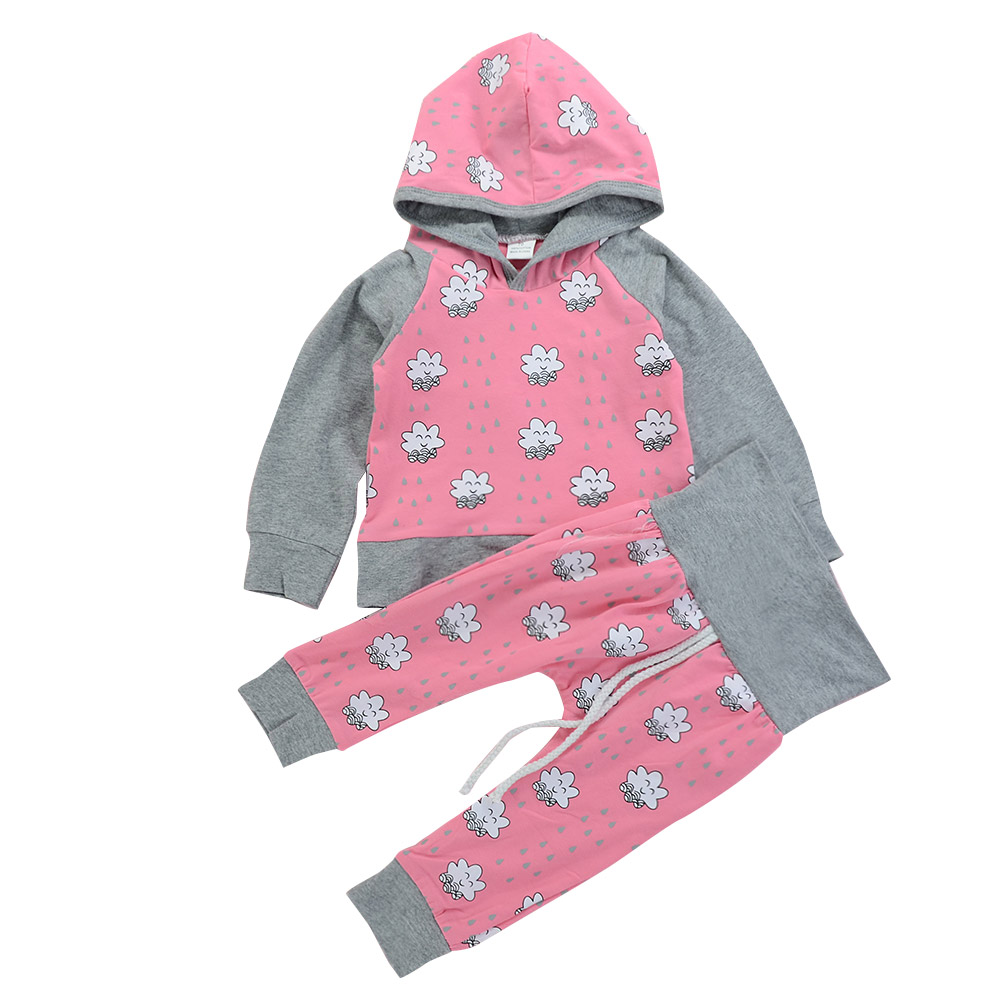 Children Girls Rainy Cloud Hooded Tops Pants Clothing Sets Baby Spring Casual Outfits