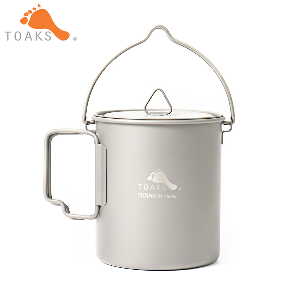 TOAKS POT-750-BH Titanium Pot Outdoor Camping Hanging Cookware With Bail Handle Easy to Carry 750ml 110g toaks pot 1350 ultralight titanium 1350ml pot with bail handle outdoor camping tableware