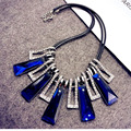 Fashion Cystal Necklaces For Women 2017 White With Blue Rhinestone Choker Collars Necklace&Pendants Geometric Statement Jewelry