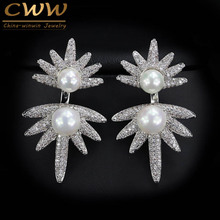 2017 Trends CWW Brands Cubic Zircon Stone Paved Double Pearl Earrings For Women Sterling Silver 925 Jewelry CZ351