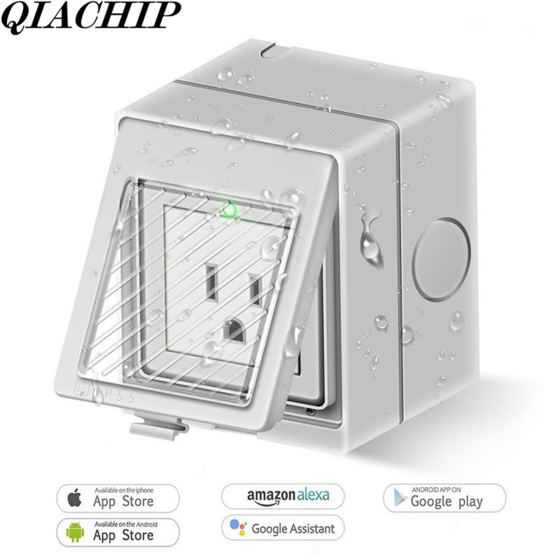 Outdoor WiFi Smart Plug Work With Amazon Alexa Google Home Weatherproof Smart Socket On/Off App Timer Setting Outlet DS30