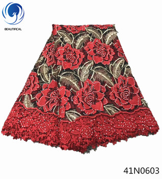 Beautifical african laces red lace fabric bridal lace fabric with flower guipure lace and beads and rhinestones 5 yards 41N06