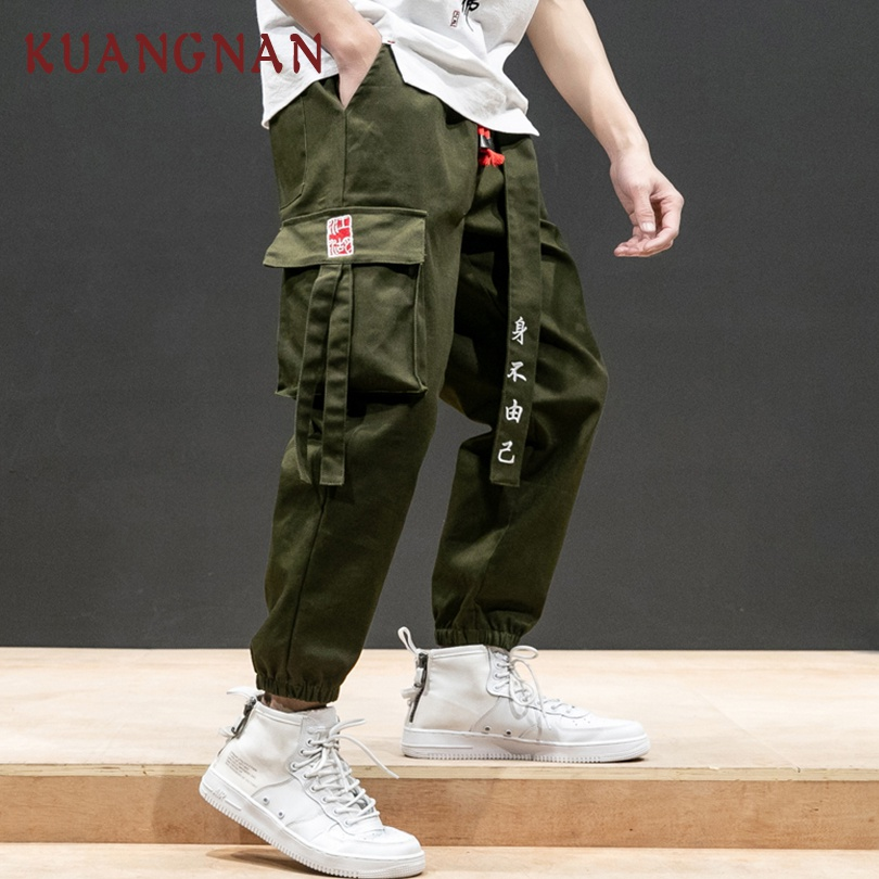 KUANGNAN Trousers Men Pants Hip-Hop Japanese Streetwear Chinese-Style Ribbons