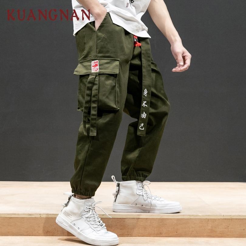 KUANGNAN Style chinois rubans Cargo pantalon hommes survêtement Streetwear japonais survêtement s hommes pantalons Hip Hop pantalons hommes pantalons 2019