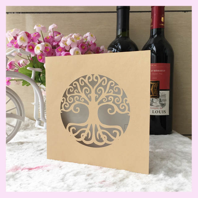 Online Shop 50pcs Lot Life Tree Design For 90th Birthday Invitation Decoration Paper Craft Laser Cut Wedding Card Greeting