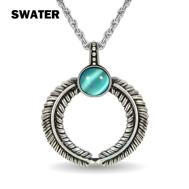 Swater vintage old silver color round stone pendants necklaces women swater vintage old silver color round stone pendants necklaces women men fashion crystal classic ethnic mozeypictures Gallery