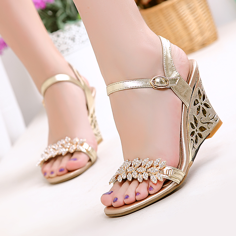 cee2b6fc228 Image result for gold wedge sandals for wedding