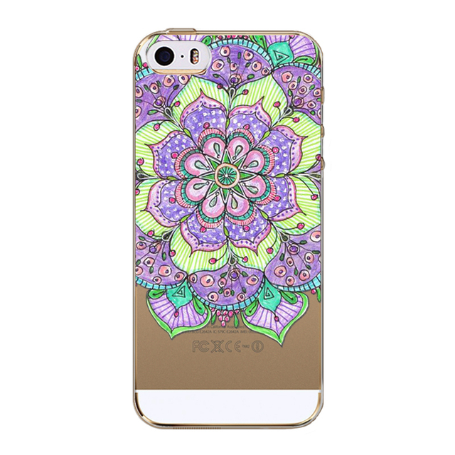 iPhone 5 5S SE 5C Colorful Floral Paisley Flower Mandala Henna Clear Silicone Soft Cover Coqu