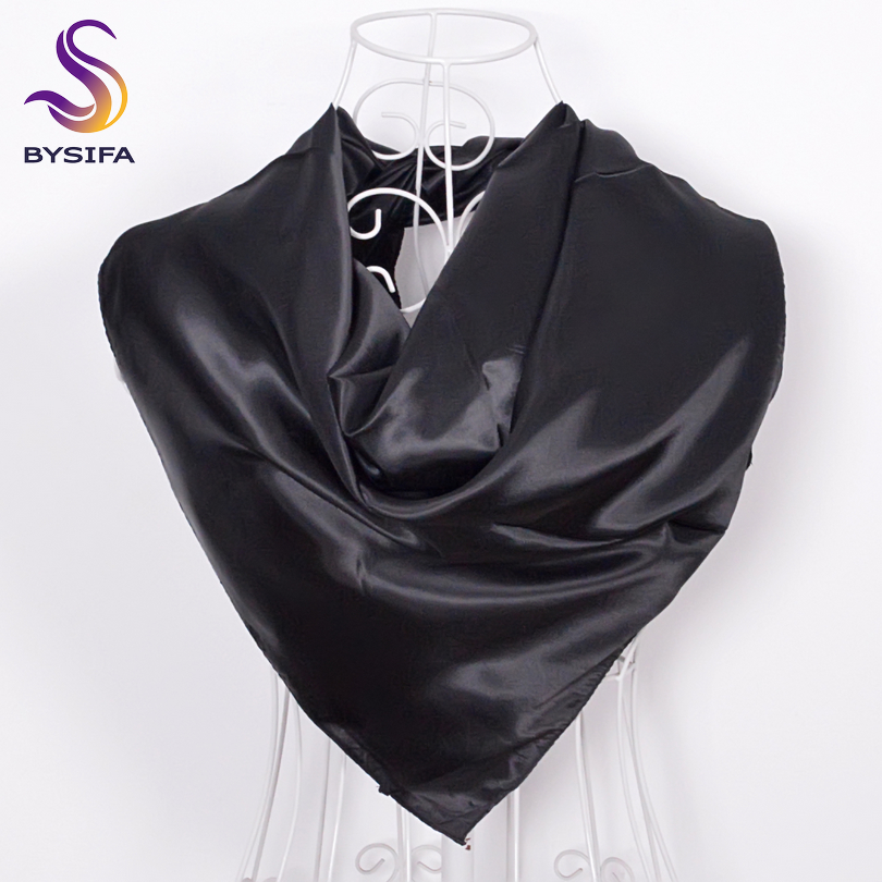 [BYSIFA] Winter Plain Square Scarves For Ladies Male New Candy colors Silk Scarf 90*90cm Autumn Silk Muffler Muslim Headscarves